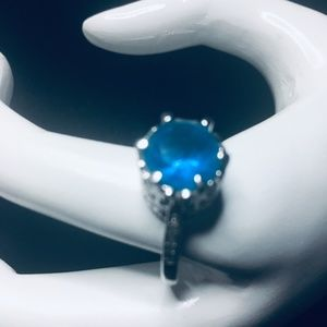 New Engagement Ring With Blue Crystal